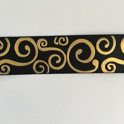 "Black with Gold Foil Swirl 7/8"" Printed Grosgrain  Ribbon 1m"
