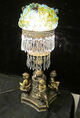 Antique Art Nouveau Gilt Spelter brass cherub lamp Murano glass shade vintage