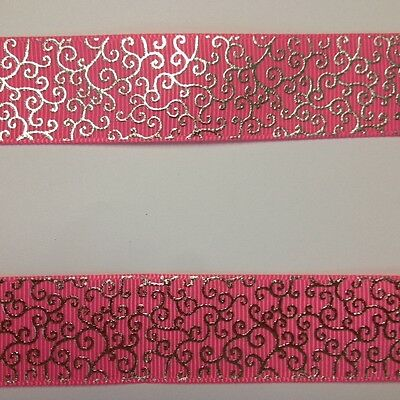 """Pink with small Silver Foil Swirl 7/8"""" Printed Grosgrain  Ribbon 1m"""