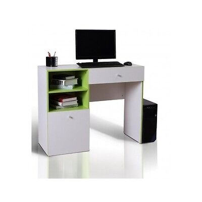 Small White Desk Kids PC Computer Workstation Writing Laptop Table Wood Storage