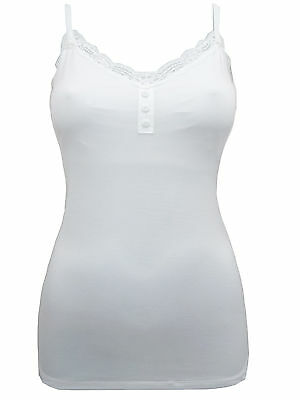 Ex M&S Marks and Spencer Women's White Secret Support™ Lace Trim Vest Cami Top