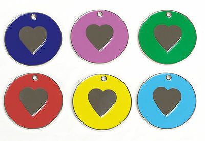Engraved Pet Dog Puppy Identity Disc, Id Disc, Id Tag, Heart Design Personalised