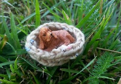 Dollhouse Miniature Cocker Spaniel Dog With Basket Accessory Animal Figure