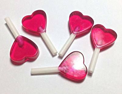Heart Shape Lollipop Miniature Fake Food Candy Resin Lolly Kawaii Cabochons Pink