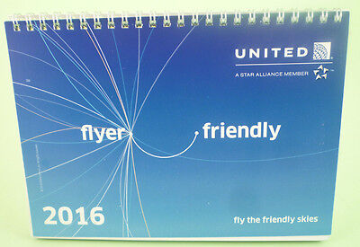 UNITED american airline CALENDAR 2016 new brand logo CONTINENTAL friendly sky ax