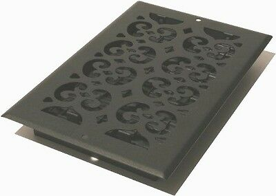 Decor Grates ST612W 6 in. x 12 in. Painted Wall Register, Black Textured