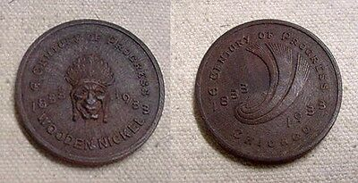 Neat 1933 Century Of Progress Wooden Nickel