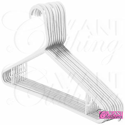 New Adult White Plastic Coat Hangers Strong Garment Hanger Trouser Bar Clothes