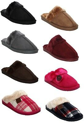 New Womens Ladies Winter Fur Lined Warm Flat Slip On Mules Cosy Slippers Uk 3-8