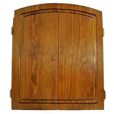 Premium Dartboard Cabinet Solid Pine Fruitwood Stain  Made In Usa