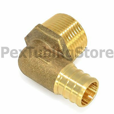 "1/2"" PEX x 1/2"" Male NPT Threaded Elbow - Brass Crimp Fitting"