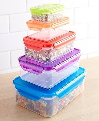 Rectangle 10 Pc Locking Colorful Lid Food Storage Set Dishwasher Microwave Safe