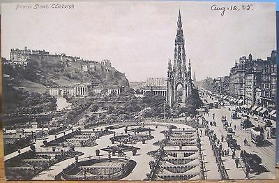 Scottish Postcard PRINCES STREET Gardens Monuments EDINBURGH Scotland UK 1905