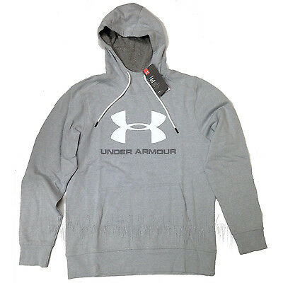 UNDER ARMOUR Mens 2016 Airforce Gray Heather/White UA SPORTSTYLE LOGO HOODIE