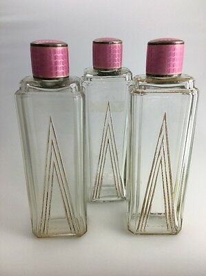 1935 Art Deco Arden French Perfume Bottle JWB English Pink Guilloché Sterling