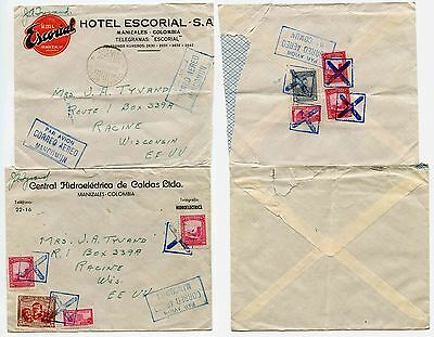 Colombia 1945 Envelopes Hidroelectrica + Hotel Escorial...signed J.a Tyvand