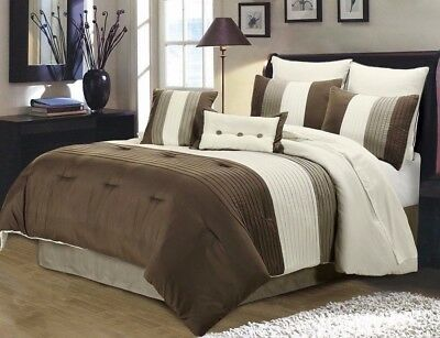 8pc Pintuck Pleated Stripe Brown, Ivory, and Taupe Comforter Set, Cal King