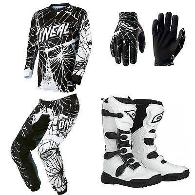 ONeal Element Enigma White Motocross Dirtbike MX Jersey Pants Gloves Boots Combo