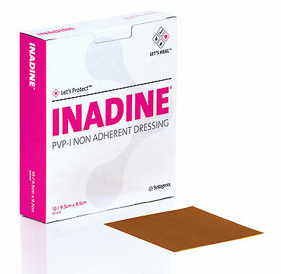 5 x Inadine Dressing  9.5cm x 9.5cm PVP Iodine Non Adherent Dressing (Pack of 5)