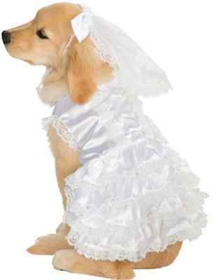 Bride White Wedding Gown Cute Fancy Dress Up Halloween Pet Dog Cat Costume