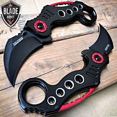 """2PC 8"""" Tactical Spring Assisted Open Folding Pocket Knife Karambit Claw Combat"""
