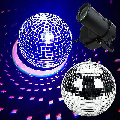 40cm Disco Mirror Ball Set 3 Colour Spot Stage Light Party Dancing Decoration