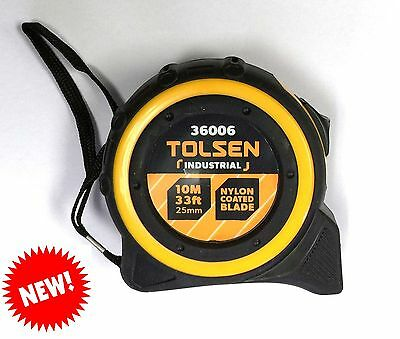 Measuring Tape Tolsen 10M x 25mm **NEW** Metric SAE Imperial Ruler Retractable