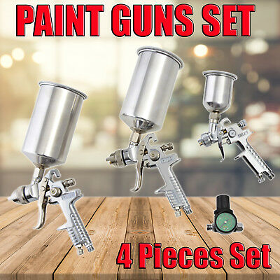 4 PCS SPRAY GUN KIT HVLP GRAVITY FEED 3 Guns + Air gauge 0.8mm 1.4mm 1.7mm
