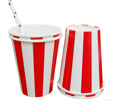 Red Striped paper cups