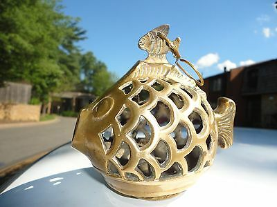Vintage Brass Globe fish shaped  Hanging Garden Lantern with clown fish on top