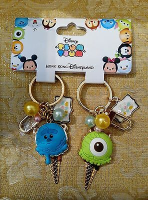 NEW! HKDL Cute Tsum Tsum Ice Cream Monster Inc Keychain( Disney Sulley Mike Pin)