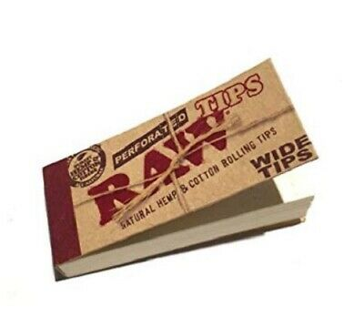 RAW Perforated H & Cotton wide tips book Tobacco Cigarette 50 leaves Paper
