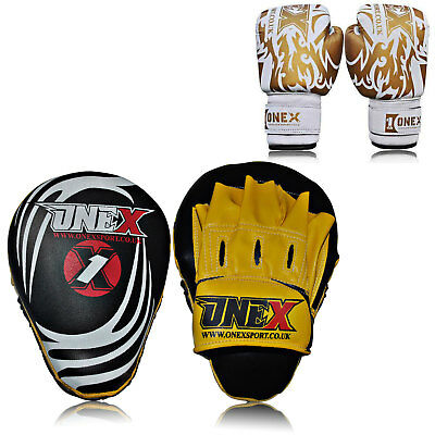 New Adult Focus Pads Curved Mitts MMA Professional Training Set Kids 6oz Gloves