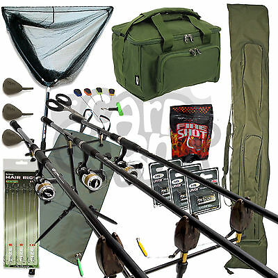 Complete Carp Fishing Set Up 3 Rods Reels Pod Net Alarms Mat Carryall Tackle