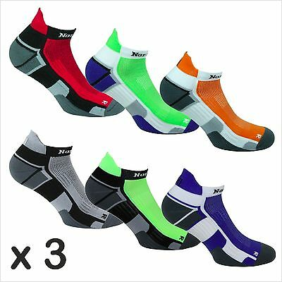 3 x Norfolk Mens Running Socks, Ankle Length, Padded & Cushioned, Trail - Owens
