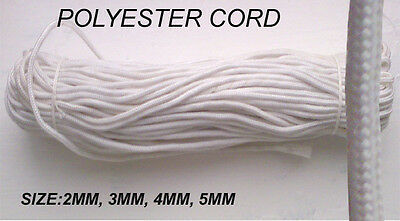 POLYESTER Nylon BRAIDED WHITE CURTAIN BLIND PULL PARA CORD MULTIUTILITY ROPE
