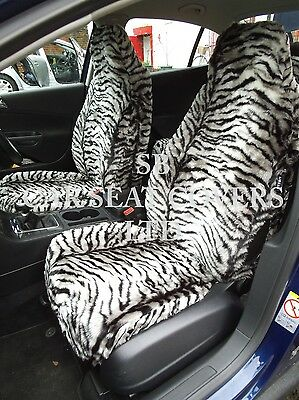 To Fit A Ford Puma Car, Seat Covers, Silver Tiger Faux Fur Full Set