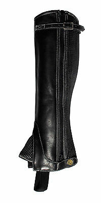 Rhinegold 'Elite' Top Strap Soft Leather Gaiters   Elasticated Panel   All Sizes