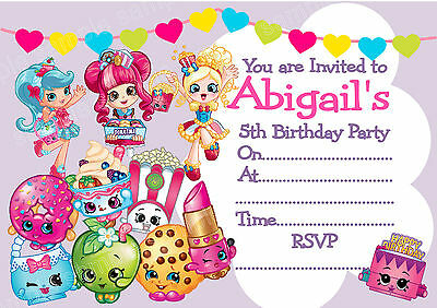 Personalised SHOPKINS GIRLS Birthday Party Invitations or THANK YOU cards x 10