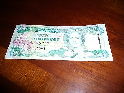 Bahamas $10 1996 Queen Boat  Rare Currency Money Bill Bank Note
