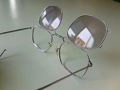 Antique Vintage Silver Tone Frame Flip up Sunglasses Eyeglasses Retrò Rare NOS