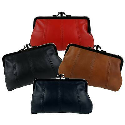 NEW Leather Ladies Clasp Coin Purse by OakRidge 4 Colours Zipped Section Handy