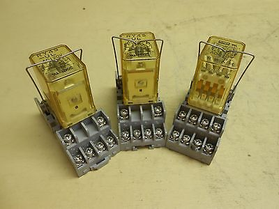 Idec AC Relay RY4S-UL with Idec Relay Socket SY4S 05 , lot of 3