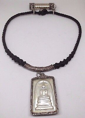 Thai Old Amulet Phra Somdej & Takrud In Sterling Silver 925 Frame /rope Necklace