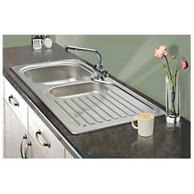Franke 1½ Bowl Kitchen Sink with  & Drainer Stainless Steel 965 x 500mm 60733