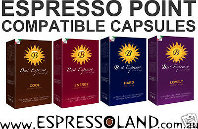 100 Espresso Point compatible capsules in convenient pack of 25 - 4 Blends incl.