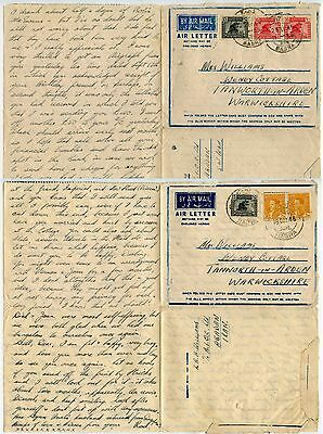 IRAQ 1945 AIRLETTERS + LONG MESSAGES WILLIAMS ABADAN AIOC LTD to TAMWORTH GB