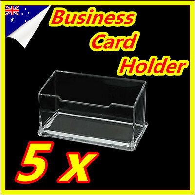 5 x Clear Desktop Business Card Holder Display Stand Acrylic Plastic Shelf Name