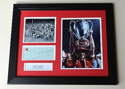 FRAMED Emlyn Hughes Liverpool HAND SIGNED Autograph Photo Mount Display + COA