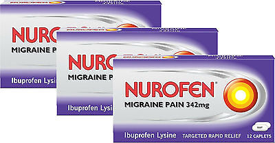 Nurofen Migraine Pain 342mg 12 PACK x3 TRIPLE PACK - Rapid Relief From Migrane